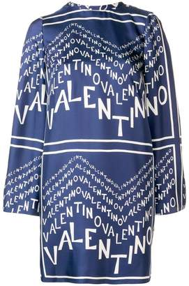 Valentino logo pleated shift dress