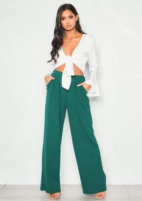 b8cda2a059f5 Missy Empire Missyempire Ems Green High Waist Wide Leg Trousers