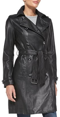 Neiman Marcus Double-Breasted Leather Trench Coat $365 thestylecure.com
