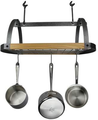 Enclume Hammered Steel & Alder Wood Signature Oval Ceiling Pot Rack