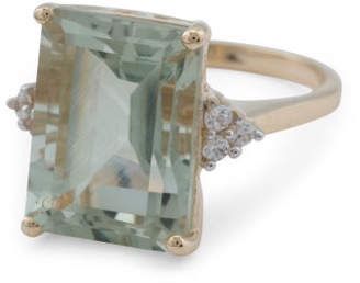 Made In India 14k Gold Green Amethyst And Zircon Ring