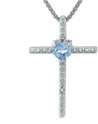 Silver Cross FINE JEWELRY Simulated Aquamarine and Diamond-Accent Sterling and Heart Pendant Necklace