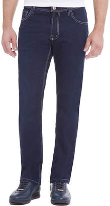 Stefano Ricci Contrast-Stitch Denim Jeans with Lizard Patch, Dark Blue