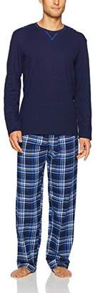 Jockey Men's Flannel Sleep Pant and Jersey Top Pajama Set