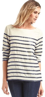 Embellished sequin stripe long sleeve top $89.95 thestylecure.com