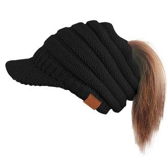 2e8d75ab3d2 at Amazon Canada · Ymombest Winter Cap Warm Cable Ribbed Knit Hat Brim  Ponytail Beanie Visor Cap