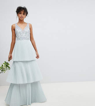Maya Floral Sequin Top Maxi Bridesmaid Dress With Tiered Ruffle Pleated Skirt