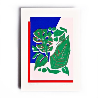 The Completist Red Blue Botanic Limited Edition Screen Print