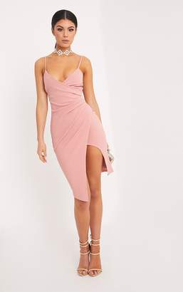 PrettyLittleThing Lauriell Rose Wrap Front Crepe Midi Dress