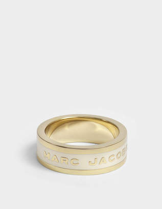 Marc Jacobs Logo Disc Band Ring in Cream Brass
