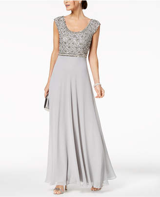 J Kara Empire-Waist Embellished Gown
