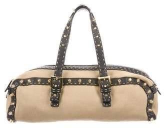 Fendi Selleria Embellished Leather-Trimmed Shoulder Bag