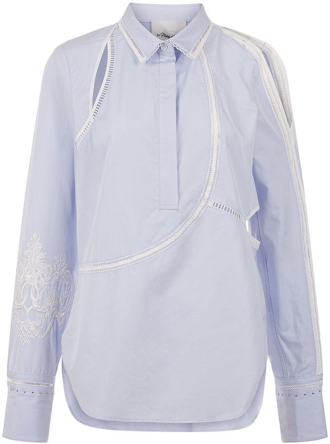 3.1 Phillip Lim 3.1 Phillip Lim Pale Blue Embroidered Sleeve Shirt