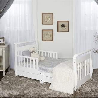 Dream On Me Wood Sleigh Toddler Bed with Storage Drawer in White