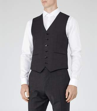 Reiss Gaffer W - Check Weave Waistcoat in Charcoal
