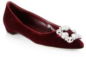 Manolo Blahnik Hangisi Velvet Point Toe Flats