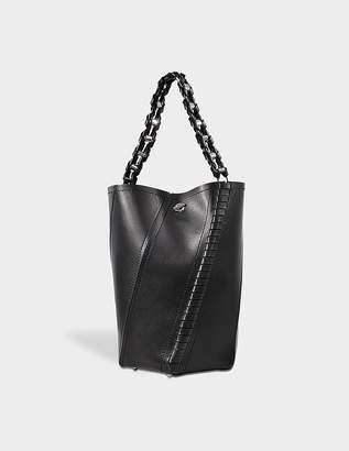 Proenza Schouler Medium Hex Bucket Bag in Black Smooth Leather with Whipstitch