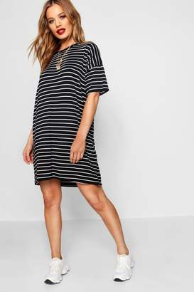 boohoo Petite Stripe T-Shirt Dress