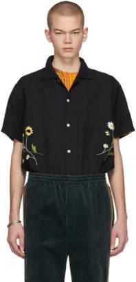 Bode Black Daisies Bowling Shirt