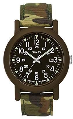 Timex Original Unisex Quartz Watch with Black Dial Analogue Display and Green Nylon Strap T2P292PF