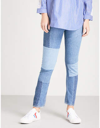 Sandro Patchwork-detail skinny high-rise jeans