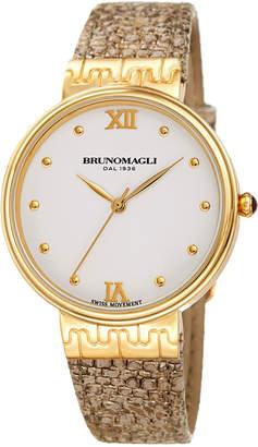 Bruno Magli 36mm Isabella Lizard Watch, Taupe/Gold
