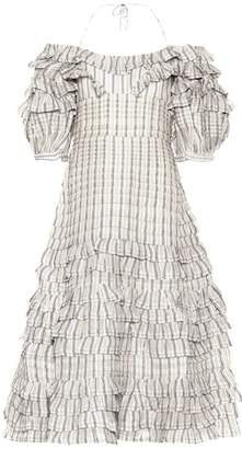 Zimmermann Painted Heart Folds linen and silk dress