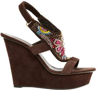 Le Silla Brown Suede Sandals