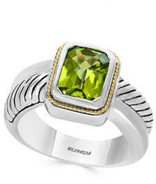 Effy 925 Sterling Silver 18K Yellow Gold Peridot Ring