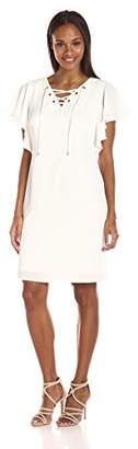 MSK Women's Laceup Ruffle Sleeve Crepon Dress