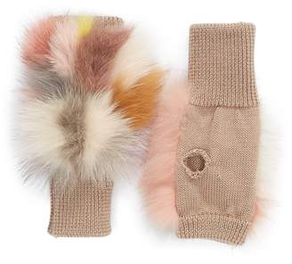 Jocelyn Insomniac Genuine Fox Fur Open Top Mittens