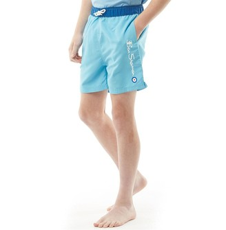 298f39d9b9cb Ben Sherman Junior Boys Script Text Swim Shorts Norse Blue