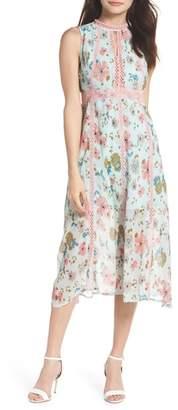 Foxiedox Kinsey Print Gauze Midi Dress