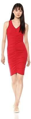 Michael Stars Women's Cotton Lycra Sleeveless v-Neck Dress with Ruching
