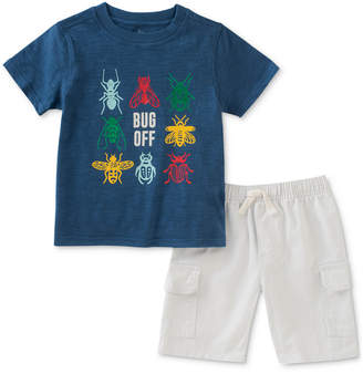 Kids Headquarters 2-Pc. Cotton Bug-Print T-Shirt & Cargo Shorts Set, Baby Boys
