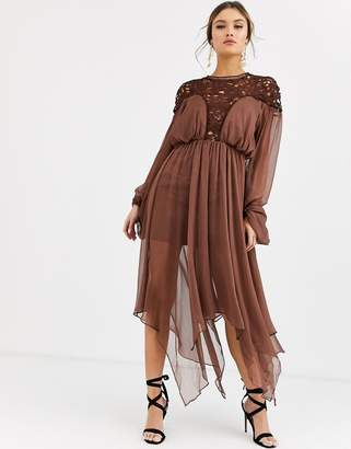 Asos Design DESIGN midi dress with blouson sleeve and lace bodice