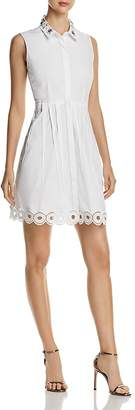 T Tahari Melitta Sleeveless Embellished Shirt Dress