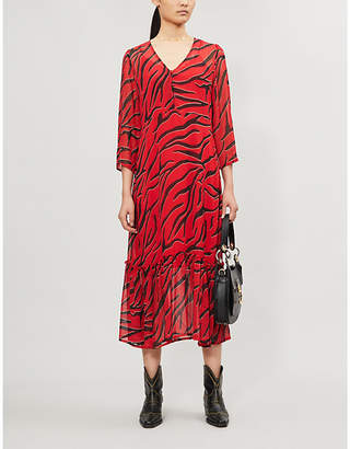Gestuz Corin tiger-print crepe midi dress
