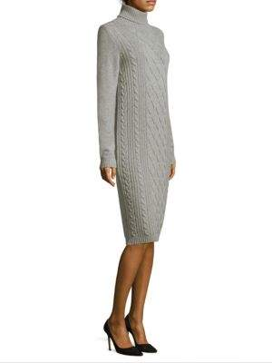 Peserico Cable-Knit Turtleneck Sweater Midi Dress