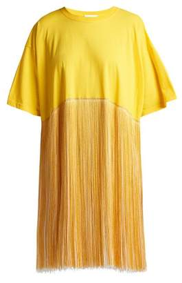 Raey Fringed Cotton Jersey Dress - Womens - Yellow