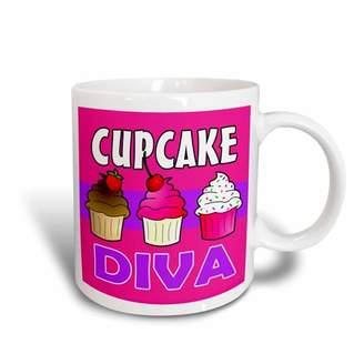 3dRose Cupcake Diva - Kawaii Cakes - Pink, Ceramic Mug, 15-ounce
