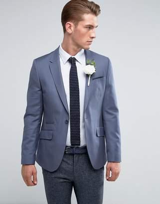 Asos DESIGN Wedding Skinny Blazer In Blue 100% Wool