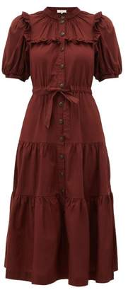 Sea Rumi Tiered Cotton Midi Dress - Womens - Burgundy