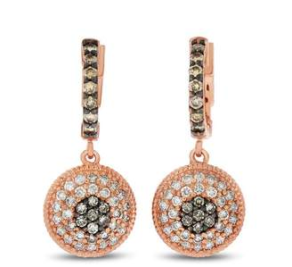1.09 Ct. Natural Diamond Champagne Circle Dangling Earrings In Solid 14k Rose Gold