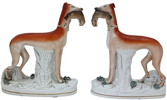 One Kings Lane Vintage Staffordshire Whippet Hunting Dogs - Set of 2 - Rose Victoria