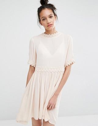 Vero Moda Cross Back Crochet Trim Dress $53 thestylecure.com
