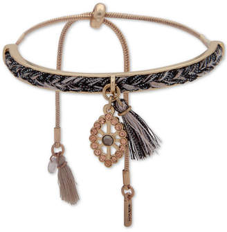 lonna & lilly Gold-Tone Crystal Evil Eye Braid & Tassel Slider Bracelet