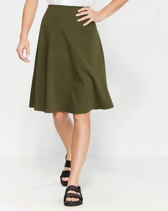 Jil Sander Navy Dark Green A-Line Wool-Blend Skirt