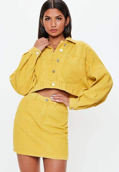 Mustard Cropped Drop Shoulder Corduroy Jacket, Mustard