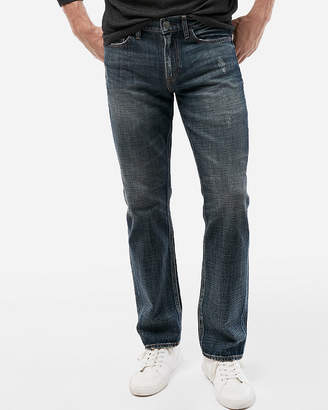 Express Slim Straight Medium Wash Distressed Soft Cotton Jeans
